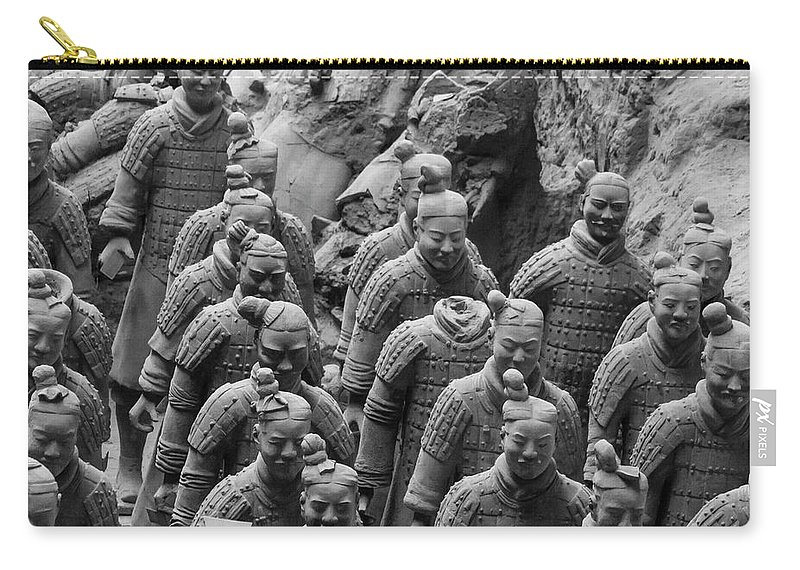 Warrior Carry-all Pouch featuring the photograph Terra Cotta Warriors In Black And White, Xian, China by Karen Foley