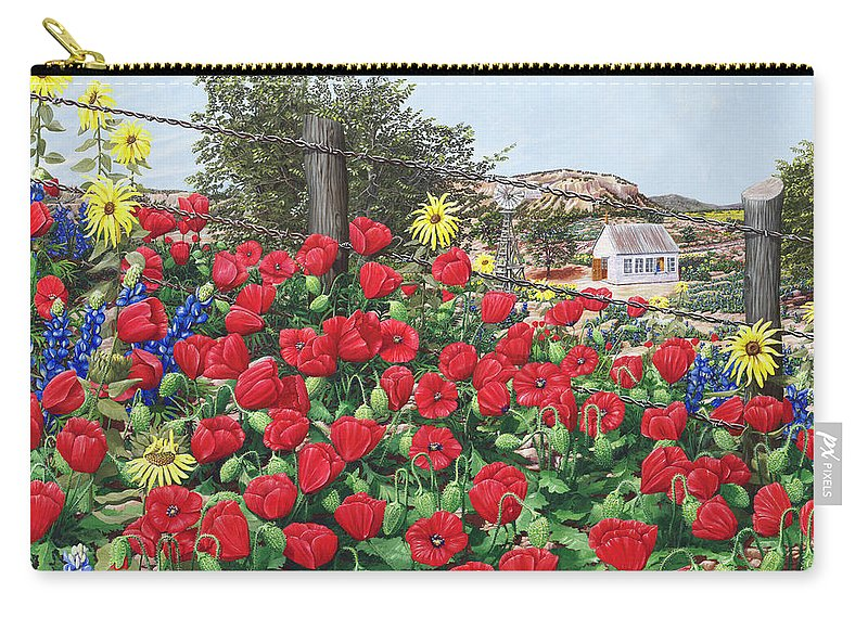Landscape Carry-all Pouch featuring the painting Thankful For The Spring Rain by D'Lee Krieger
