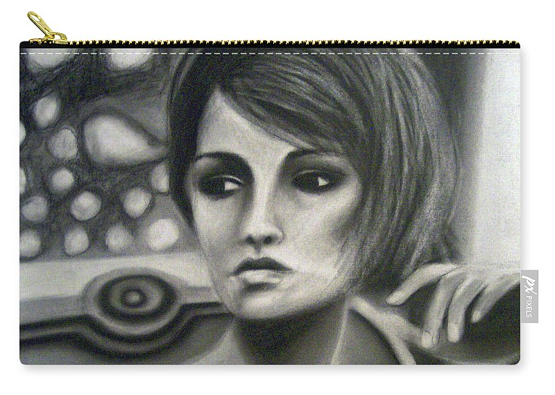 Drawing Carry-all Pouch featuring the drawing Thanks For Nothin' by Lee Wilde-Portraits