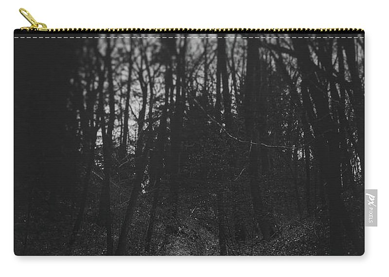 Black And White Carry-all Pouch featuring the photograph That Lonesome Road by Scott Norris