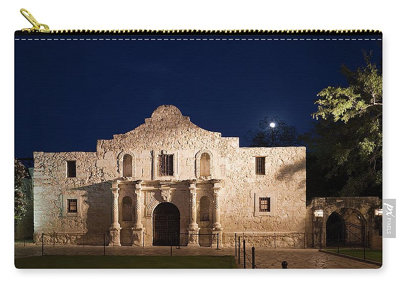 Outdoors Carry-all Pouch featuring the photograph The Alamo, San Antonio Texas With Full by Dhughes9