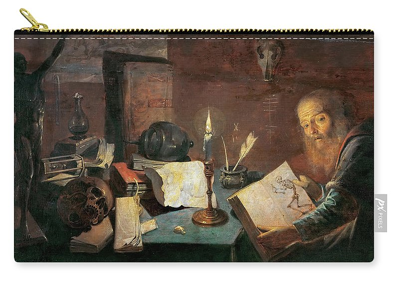David Ryckaert Iii (1612-1662) Carry-all Pouch featuring the painting The Alchemist by David Ryckaert III