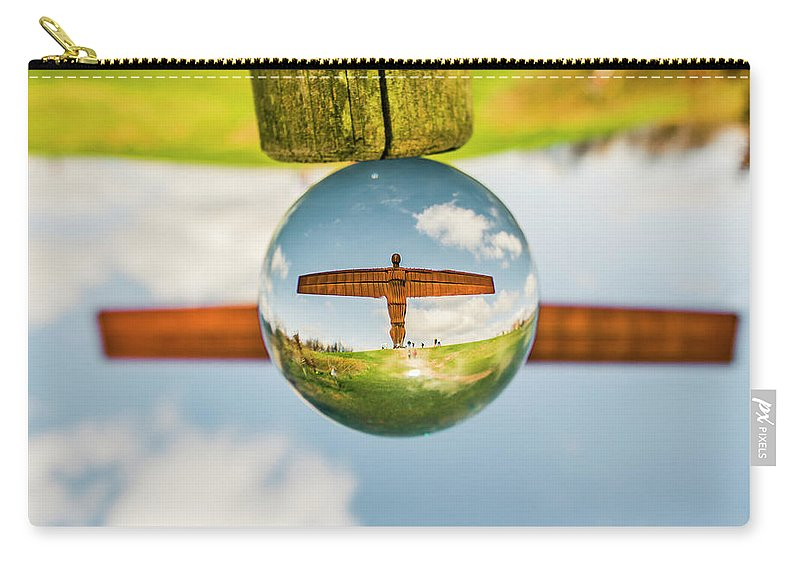 Reflection Carry-all Pouch featuring the digital art The Angel Of The North. by Dariusz Stec