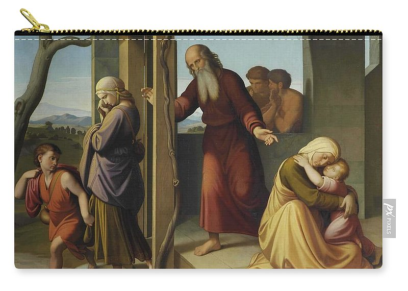 Girl Carry-all Pouch featuring the painting The Banishment Of Hagar By Johann Friedrich Overbeck by Johann Friedrich Overbeck