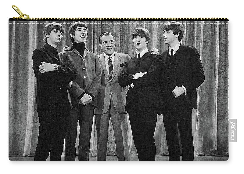 The Beatles Carry-all Pouch featuring the photograph the beatles and ed sullivan - February, 1964 by Mountain Dreams