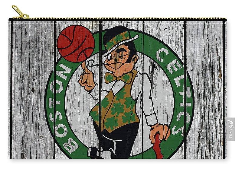 The Boston Celtics Carry-all Pouch featuring the mixed media The Boston Celtics Wood Wall 12a by Brian Reaves
