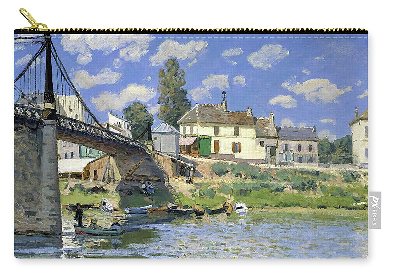 Alfred Sisley Carry-all Pouch featuring the painting The Bridge At Villeneuve-la-garenne - Digital Remastered Edition by Alfred Sisley