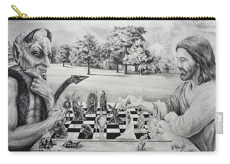 Jesus Carry-all Pouch featuring the drawing The Chess Game by Susan Frech-Sims
