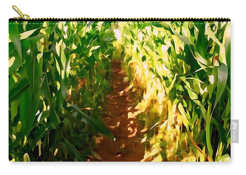 Digital Art Carry-all Pouch featuring the digital art The Corn Maze #2 by Ed Weidman