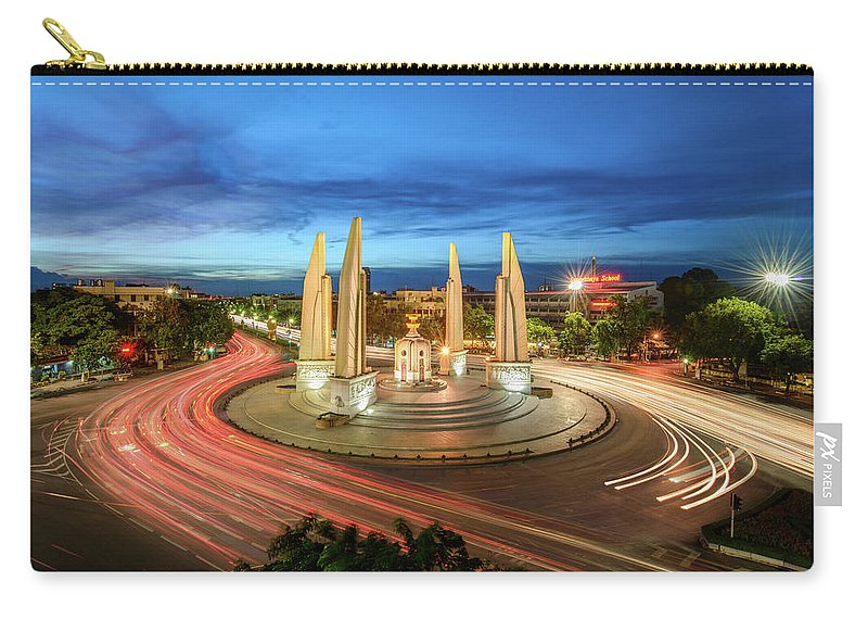 Built Structure Carry-all Pouch featuring the photograph The Democracy Monument by Thanapol Marattana