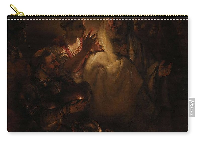 Man Carry-all Pouch featuring the painting The Denial Of St Peter, Rembrandt Harmensz. Van Rijn, 1660 by Rembrandt Harmensz