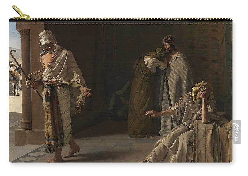 Edouard De Jans Carry-all Pouch featuring the painting The Departure Of The Lost Son by Edouard de Jans
