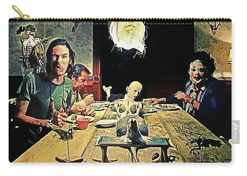 The Dinner Scene Carry-all Pouch featuring the painting The Dinner Scene - Texas Chainsaw by Zapista Zapista