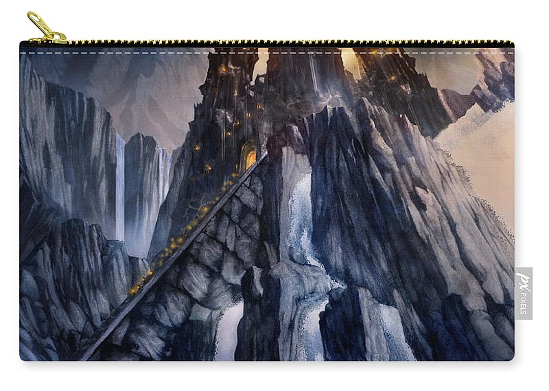 Architectural Carry-all Pouch featuring the mixed media The Dragon Gate by Curtiss Shaffer