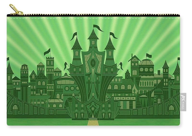 Oz Carry-all Pouch featuring the digital art The Emerald City by Mark Gillespie