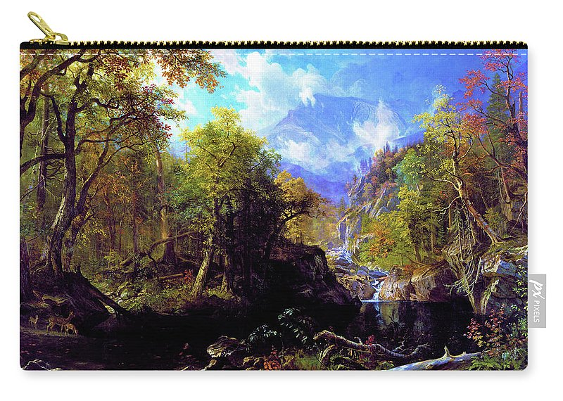 The Emerald Pool Carry-all Pouch featuring the painting The Emerald Pool - Digital Remastered Edition by Albert Bierstadt