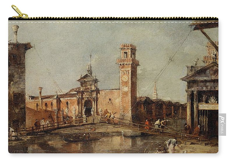 Francesco Guardi Carry-all Pouch featuring the painting The Entrance To The Arsenal In Venice by Francesco Guardi