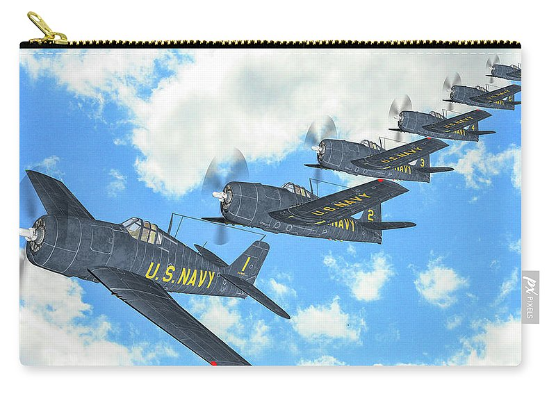 Grumman F6f Hellcat Carry-all Pouch featuring the digital art The First Blue Angels - Oil by Tommy Anderson