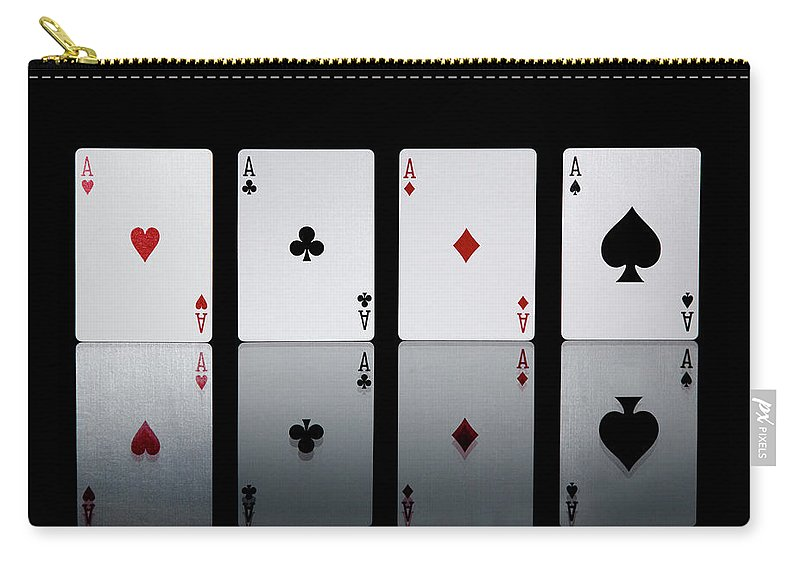 Risk Carry-all Pouch featuring the photograph The Four Aces From A Pack Of Playing by Sasha Weleber