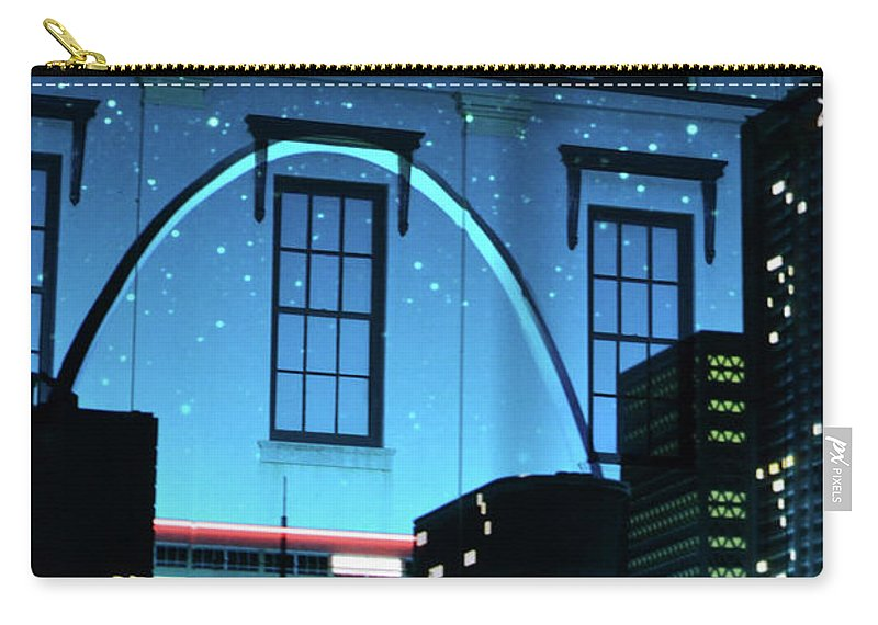 Laser Show Carry-all Pouch featuring the photograph The Gateway Arch And The City by Carol Jackson