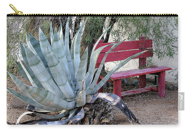 Landscape Carry-all Pouch featuring the photograph The Little Red Bench by Clair Flatt
