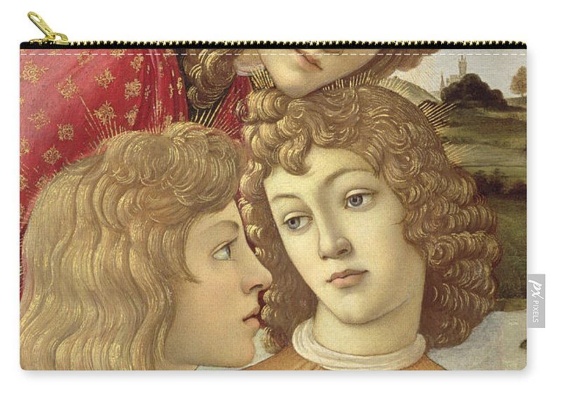 Sandro Botticelli Carry-all Pouch featuring the painting The Madonna Of The Magnificat, Detail Of Three Boys, 1482 by Sandro Botticelli