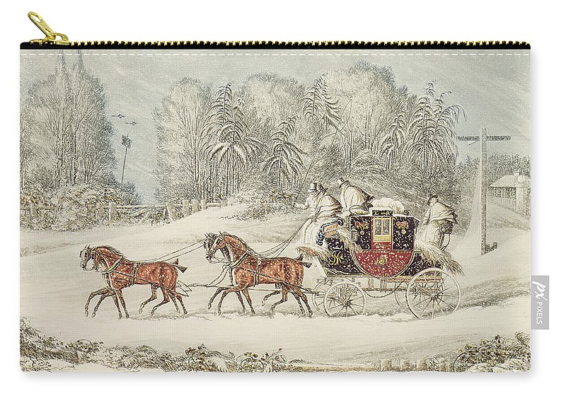 The Mail Coach In A Storm Of Snow Carry-all Pouch featuring the painting The Mail Coach In A Storm Of Snow 1825 by James Pollard