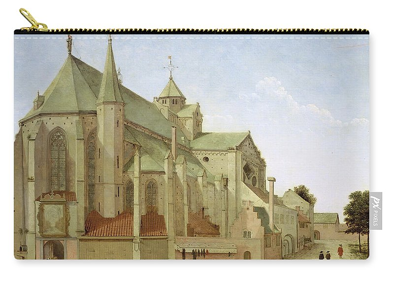 Pieter Saenredam Carry-all Pouch featuring the painting The Mariaplaats With The Mariakerk In Utrecht by Pieter Saenredam