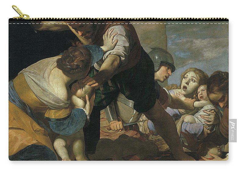 Massimo Stanzione Carry-all Pouch featuring the painting The Massacre Of The Innocents After    by Massimo Stanzione