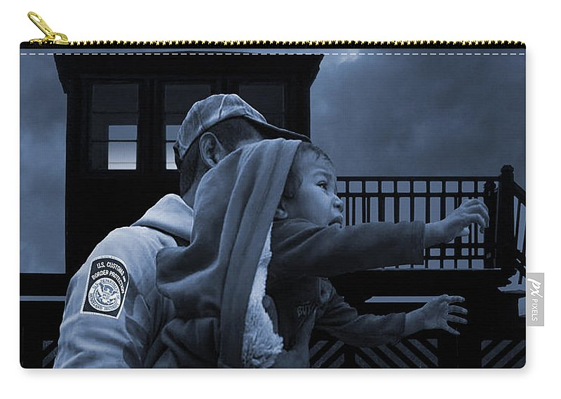 Immigration Carry-all Pouch featuring the digital art The Migrant Child by M Spadecaller