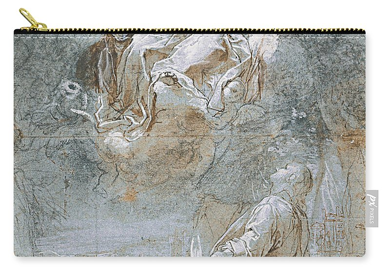 Federico Barocci (1535–1612 Carry-all Pouch featuring the painting The Miracle Of The Sacred Belt Rec by Federico Barocci