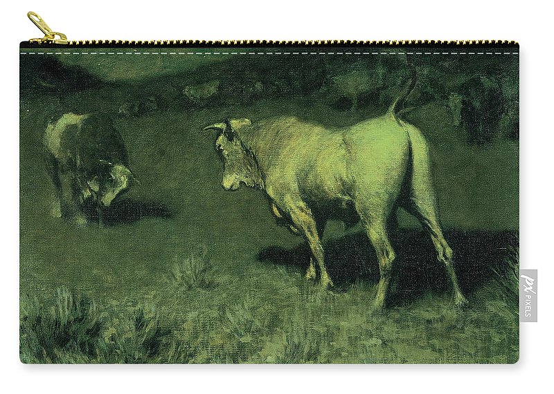 The Moaning Of The Bulls Carry-all Pouch featuring the painting The Moaning Of The Bulls, 1907 by Frederic Remington