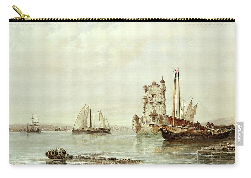 The Mouth Of The Tagus Carry-all Pouch featuring the painting The Mouth Of The Tagus, Lisbon by Arthur Joseph Meadows