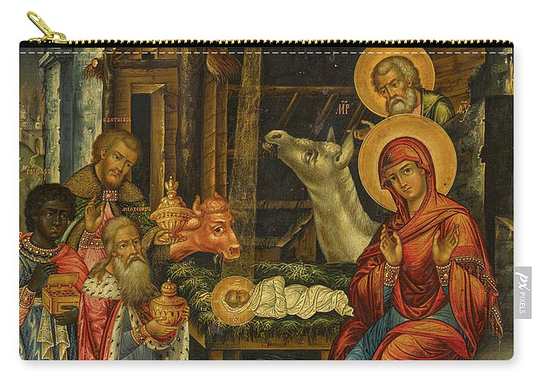 The Nativity Carry-all Pouch featuring the painting The Nativity, Russia, 1848 by Russian Art