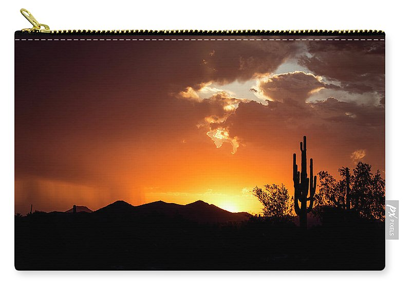 Arizona Carry-all Pouch featuring the photograph The Night Begins by Cathy Franklin