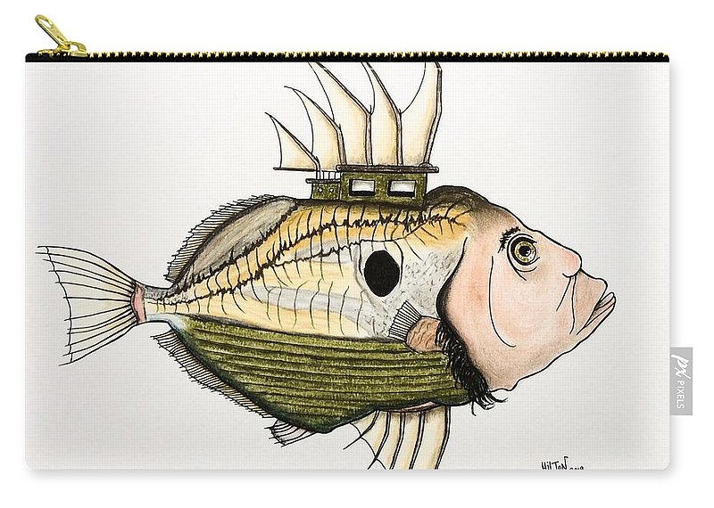 Nature Surrealist Fish/boat/human Carry-all Pouch featuring the pastel The Real John Dory by Graham Wallwork
