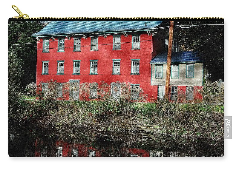Landscape Carry-all Pouch featuring the photograph The Red House Along The Autumn Canal by Tami Quigley