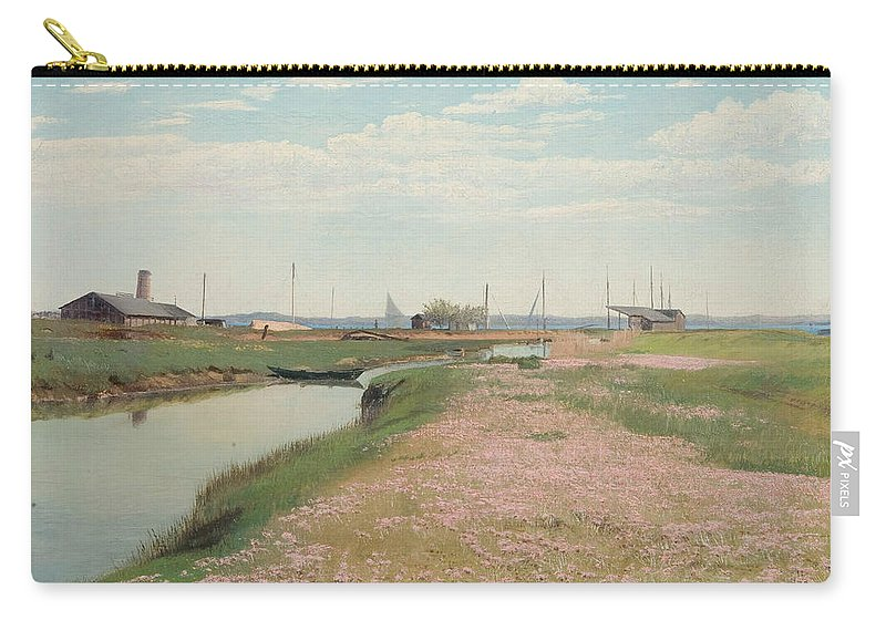 19th Century Art Carry-all Pouch featuring the painting The River And The Harbour At Frederiksvaerk by Laurits Andersen Ring