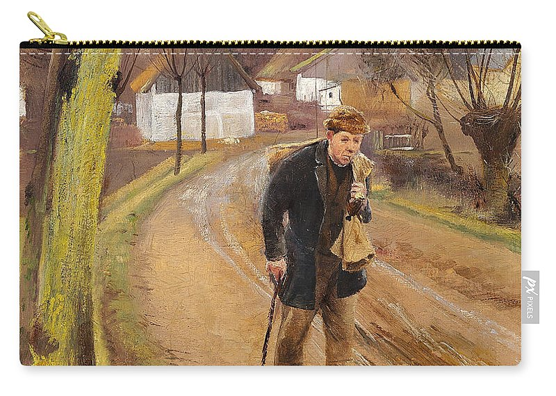 19th Century Art Carry-all Pouch featuring the painting The Road Through The Village Of Ring by Laurits Andersen Ring