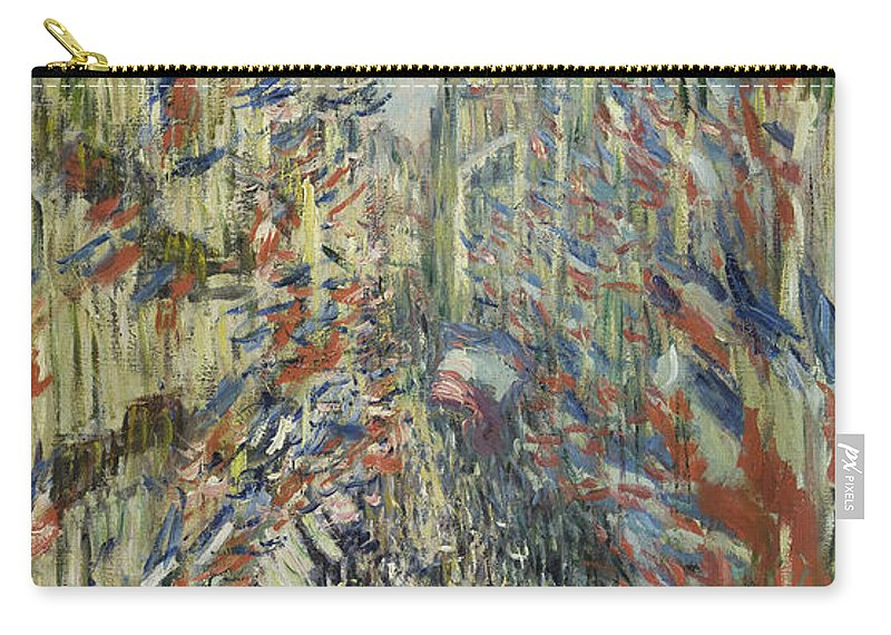 Claude Monet Carry-all Pouch featuring the painting The Rue Montorgueil In Paris Celebration by Claude Monet