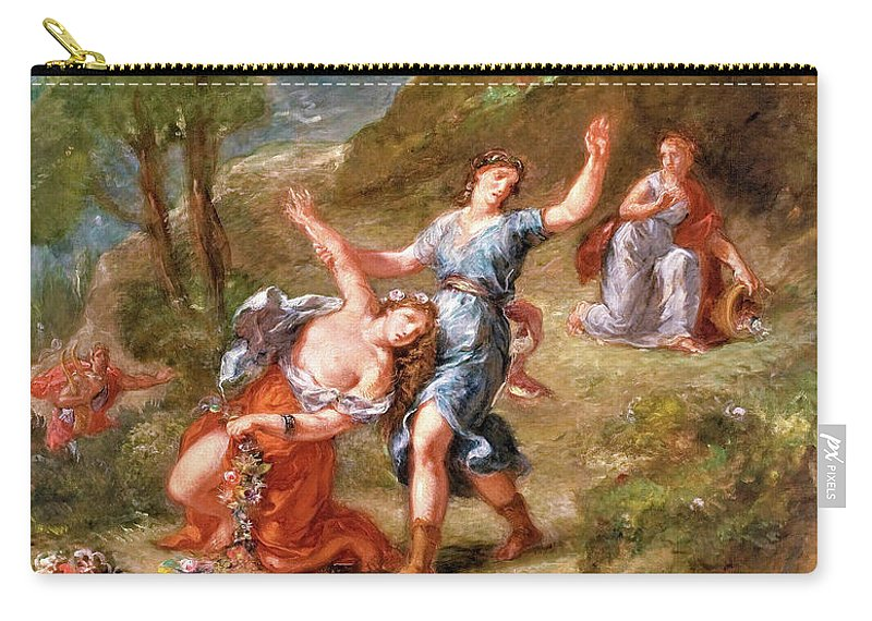 The Spring Carry-all Pouch featuring the painting The Spring - Eurydice Bitten By A Serpent While Picking Flowers, Eurydice's Death by Eugene Delacroix