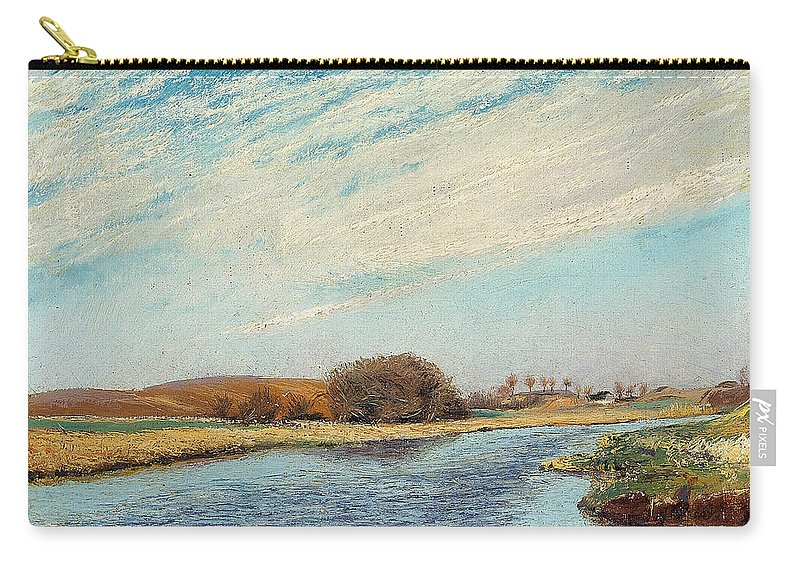 19th Century Art Carry-all Pouch featuring the painting The Susaa River At Naestved, Denmark by Laurits Andersen Ring