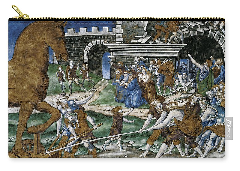 Pierre Courteys Carry-all Pouch featuring the painting The Trojan Horse Is Hauled Into The City After    by Pierre Courteys