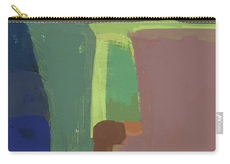 Abstract Landscape Carry-all Pouch featuring the painting Valley At Night - Abstract by Vesna Antic
