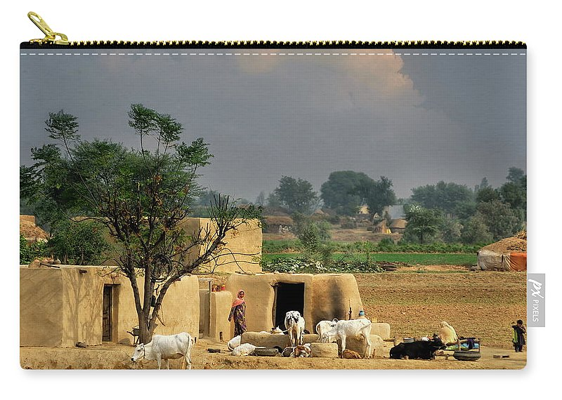 Grass Carry-all Pouch featuring the photograph The Village Of Punjab by Nadeem Khawar