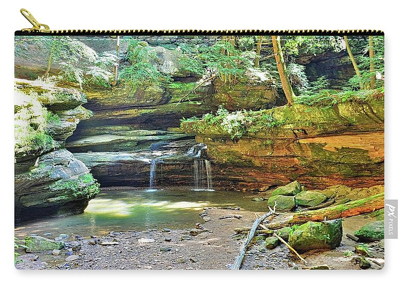 The Waterfall In Old Man's Cave Hocking Hills Ohio Carry-all Pouch featuring the photograph The Waterfall In Old Man's Cave Hocking Hills Ohio by Lisa Wooten