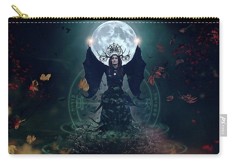 Witch Carry-all Pouch featuring the digital art The Witch by Karen Koski