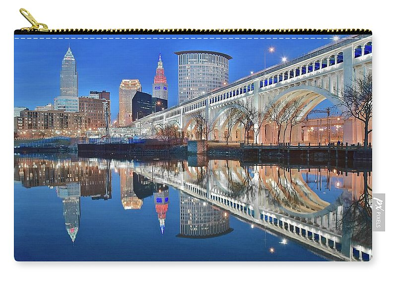 Cleveland Carry-all Pouch featuring the photograph This Is Cleveland II by Frozen in Time Fine Art Photography