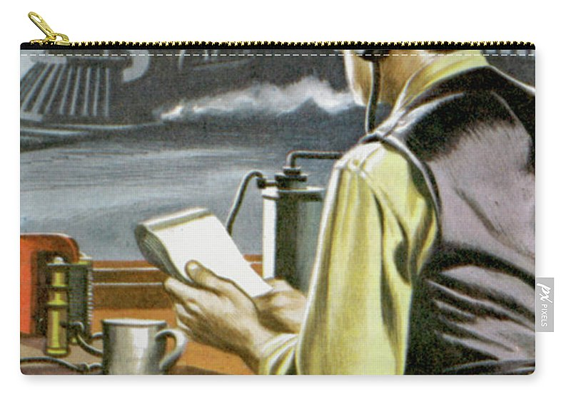 Thomas Edison Carry-all Pouch featuring the painting Thomas Edison, The Railway Telegraphist by Ron Embleton