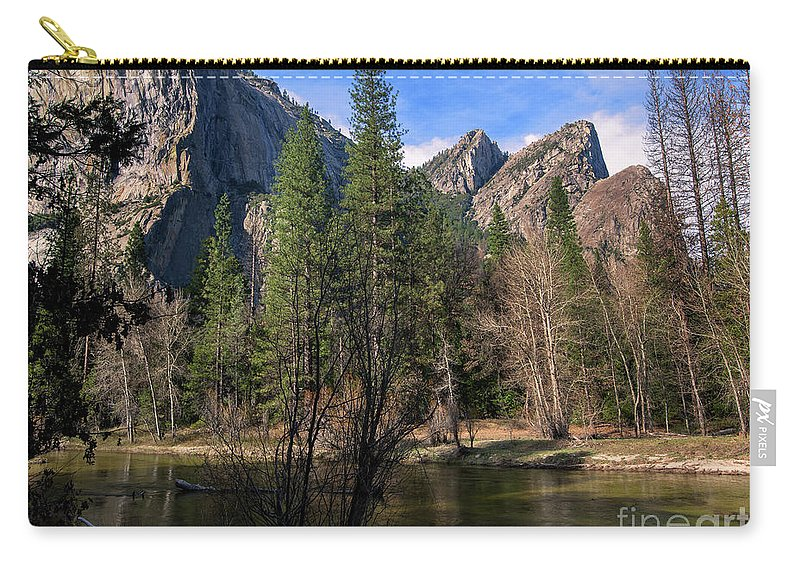 Three Brothers Carry-all Pouch featuring the photograph Three Brothers, Yosemite National Park by Yefim Bam